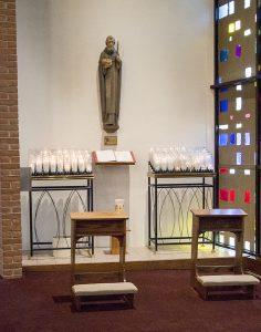 St. Columba statue in church